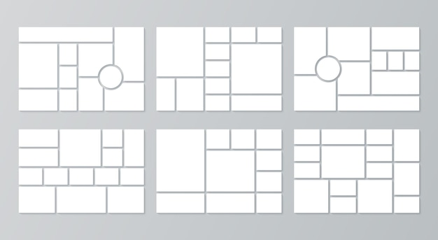Moodboard templates. collage grid. vector. mood board background. set of pictures layout.