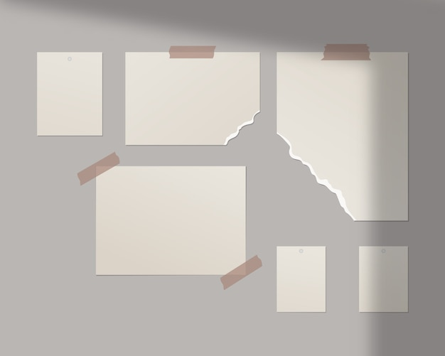 Шаблон moodboard. пустые листы белой бумаги на стене. шаблон дизайна. реалистичная иллюстрация.