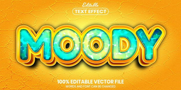Moody text, font style editable text effect Premium Vector