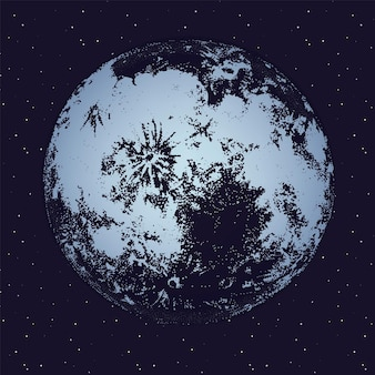 Moon against dark night sky full of stars on background. celestial body, lunar astronomical object or satellite in outer space. monochrome vector illustration hand drawn in trendy dotwork style.