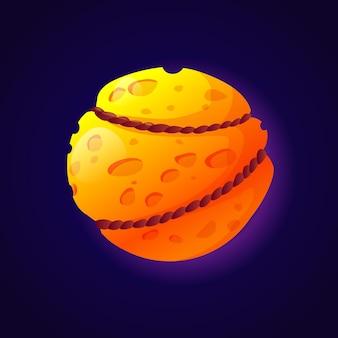 ロープや鎖で結ばれたファンタジー惑星のような月とチーズ孤立した宇宙天体