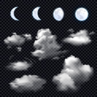 Луна и облака на прозрачном