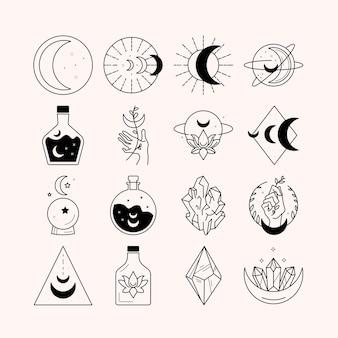 Луна и магия руки логотип