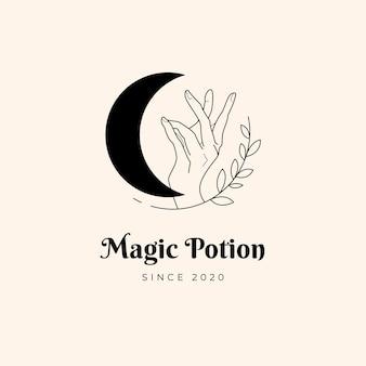 달과 손 마술 로고