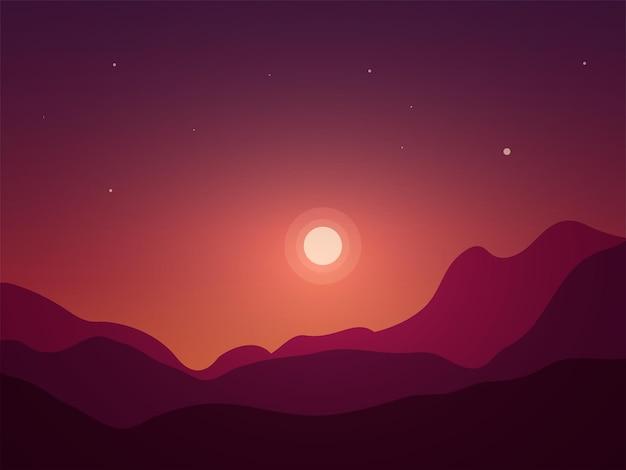 Луна и гора природа фон