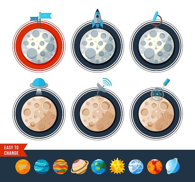 月と他の惑星のアイコンフラットデザイン