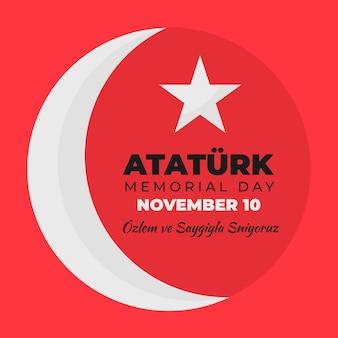 月と星のアタチュルク記念日フラットデザイン