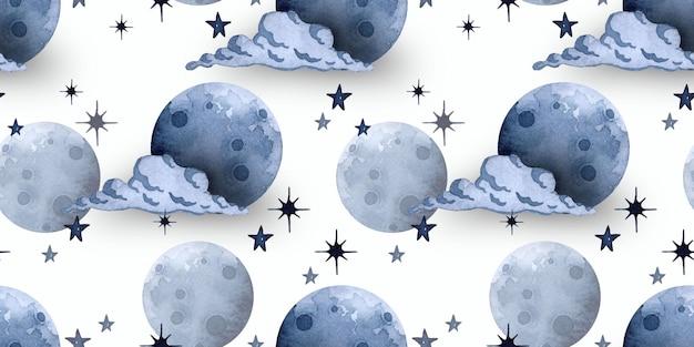 Луна и звезды акварель бесшовный фон