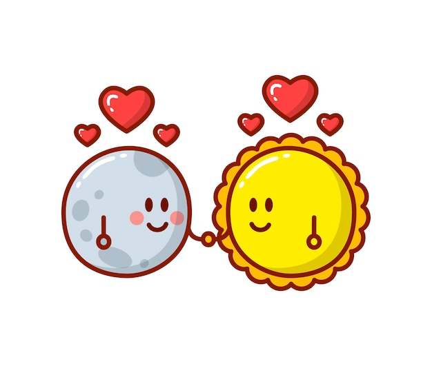 달과 태양 만화 캐릭터 흰색 절연