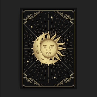 Луна и солнце. магические оккультные карты таро, эзотерическое бохо, духовное чтец таро, магическая астрология карт, рисование духовных.