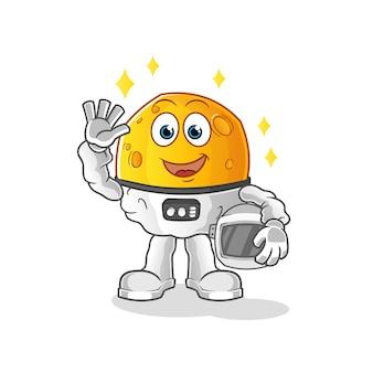 Moon astronaut waving character