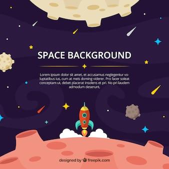 달 배경 및 평면 디자인에 로켓