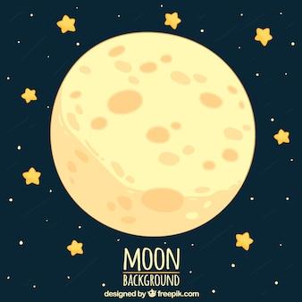 La luna di fondo con cute stelle