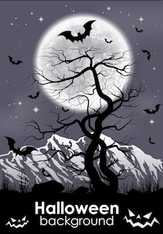 Moon background with mountain, old tree and black bats