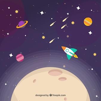 Priorità bassa di luna con il razzo ed altri pianeti