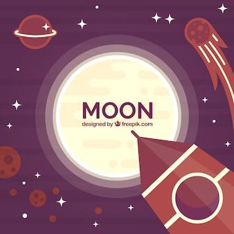 Sfondo luna con rucola e stelle