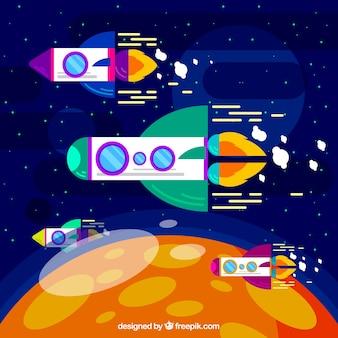 平らなデザインのロケットと月の背景
