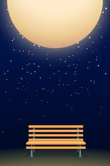 Moon and bench