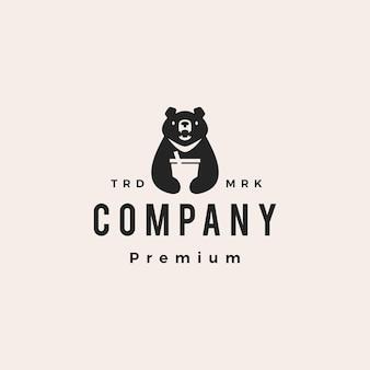 Луна черный медведь пить вьетнамский битник старинный логотип вектор значок иллюстрации