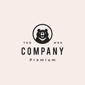 Луна черный медведь голова круглый круг эмблема вьетнам битник старинный логотип вектор значок иллюстрации