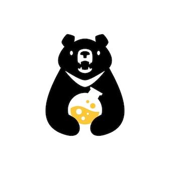 Moon black bear vietnam lab laboratory negative space logo vector icon illustration