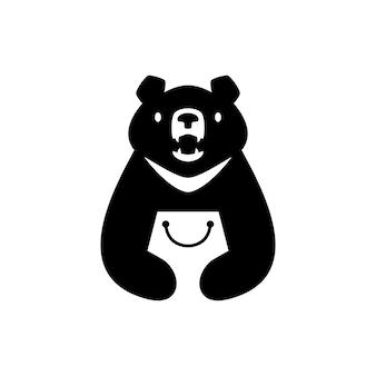 Moon black bear vietnam shop shopping bag store logo vector icon illustration