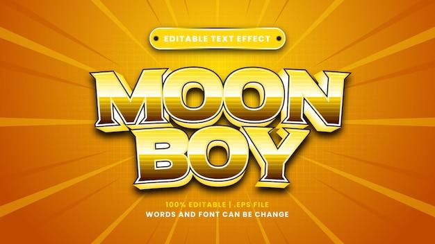 Редактируемый текстовый эффект лунного мальчика в современном 3d стиле