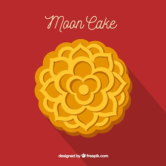Moon cake background in flat style