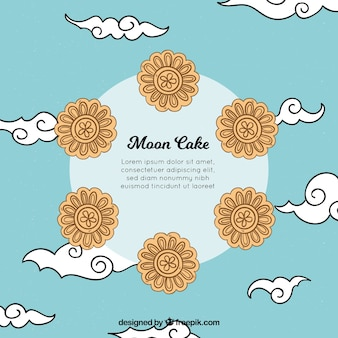 Moon cake background in hand drawn style