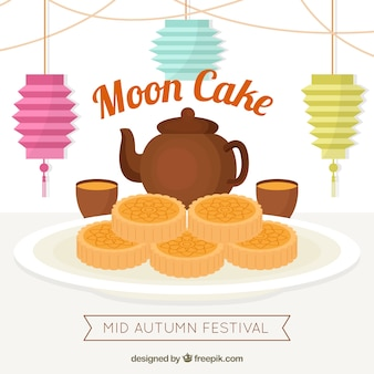 Moon cake background with tea