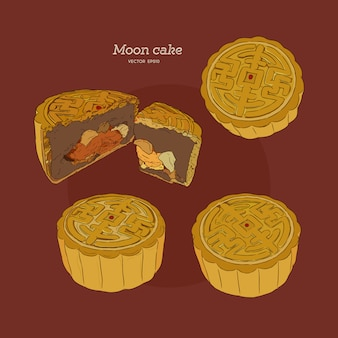 Moon cake hand draw sketch vector.