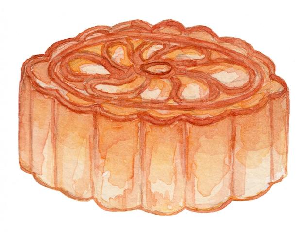 Moon cake watercolor illustration
