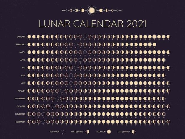 Лунный календарь на 2021 год. даты циклов лунных фаз, полные. новые и все промежуточные фазы, лунное расписание, ежемесячный календарный год, векторная иллюстрация. лунный календарь на год, шаблон ежемесячного расписания