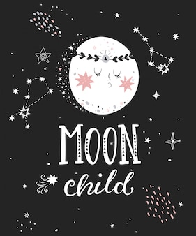 Moon child poster with hand drawn lettering