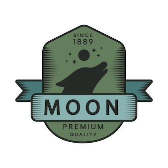 月の色のレトロなロゴのテンプレート。