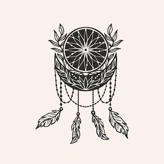 문 초승달 꿈 포수 꽃 만다라입니다. 점성술 boho 마녀 기호 부적입니다. 신성한 신비한 장식 유행 style.vector 그림입니다.