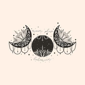 Мандала цветка полумесяца луны. амулет символа ведьмы бохо астрологии. модный стиль священного мистического украшения.