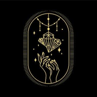 영적지도 타로 카드 리더 문신 디자인을위한 문 크리스탈 태양 파도와 신성한 기하학