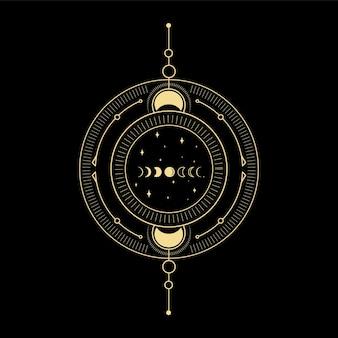 Лунный кристалл, солнечная волна и сакральная геометрия для духовного руководства дизайн татуировки кард-ридер таро