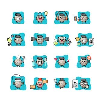 Moon cute and kawaii character set