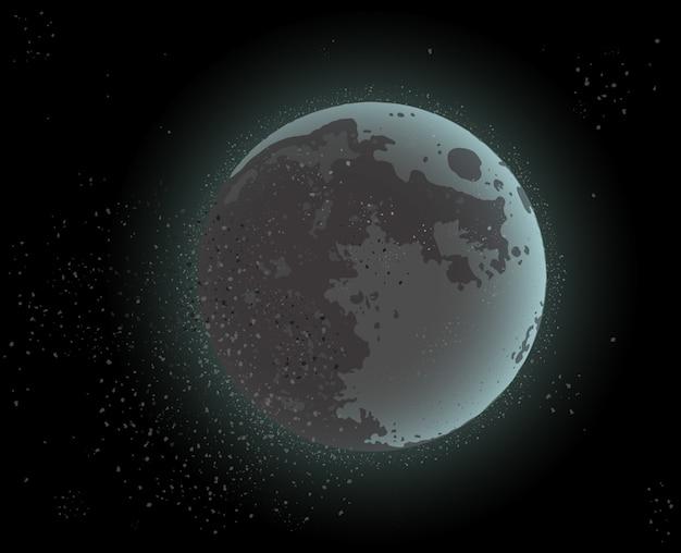 Moon in dark cosmos space