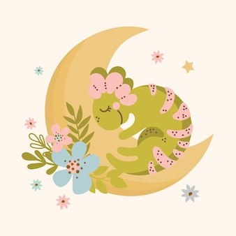 Moon dino hand drawn flat design grunge style cartoon sleep prehistoric animal kid apparel vector illustration for print