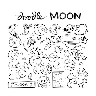 Moon doodle hand drawn