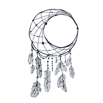 Moon dreamcatcher with feathers and moon vector hipster illustration isolated on white ethnic desi