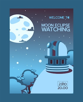 Moon eclipse watching, welcome flyer, observing station night sky, flat illustration. monitoring station, mountain and forest location.