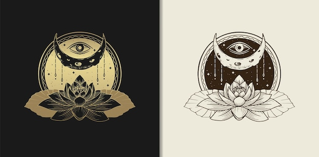 Moon, eye and lotus flower luxury gold hand drawn engraving style illustration.