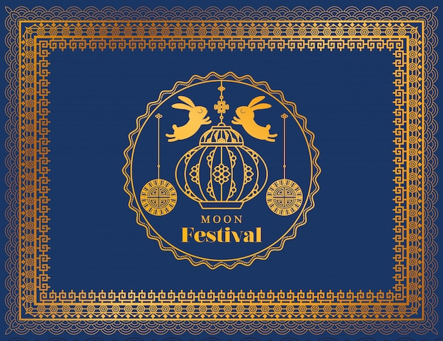 Moon festival with rabbits lantern and seal in gold frame on blue background
