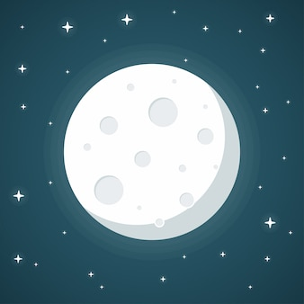 Moon flat design style on blue background,