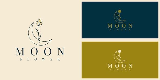 Moon flower simple logo illustration template design
