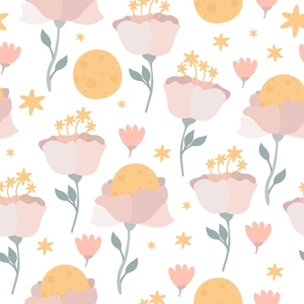 Moon flowers seamless pattern